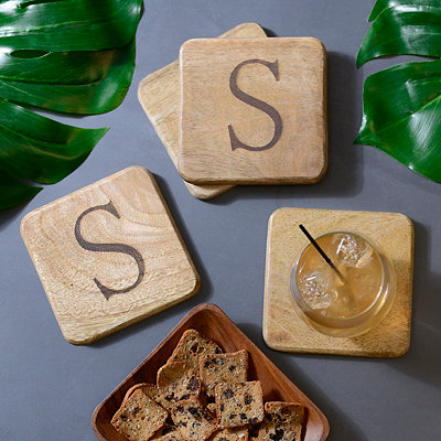 Stamped Monogram S Coasters, Set of 4