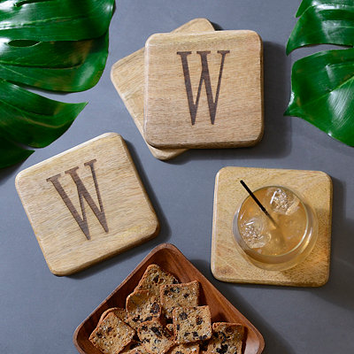 Stamped Monogram W Coasters, Set of 4