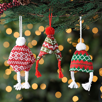 Green and Red Knit Hat Ornaments, Set of 3
