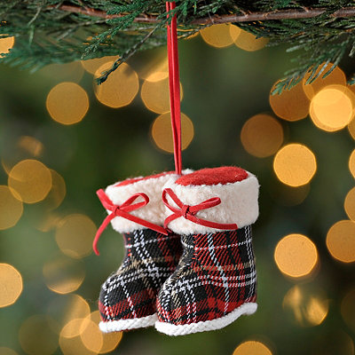 Plaid Winter Boot Ornament