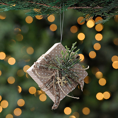 Natural Polka Dotted Present Ornament