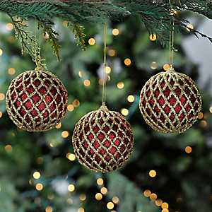 Red Glitter Diamond Ornament, Set of 3
