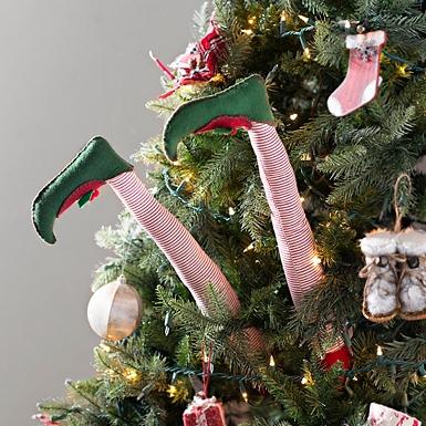 striped elf leg picks set of 2 - Christmas Tree Picks