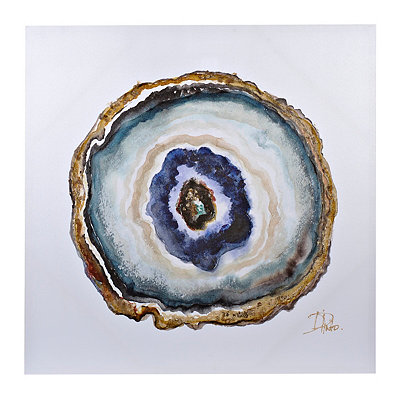 Indigo Watercolor Geode Canvas Art Print