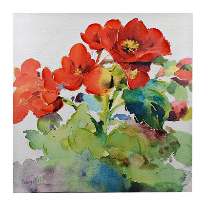 Red Watercolor Floral Canvas Art Print