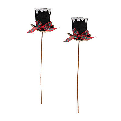 Black Frosted Top Hat Picks, Set of 2