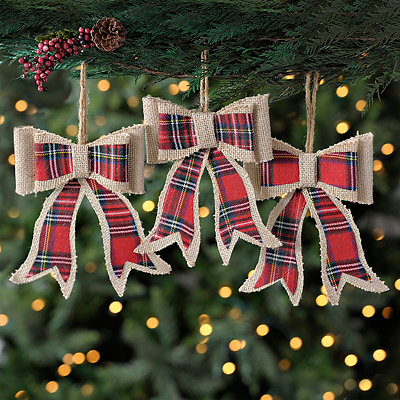 Plaid Natural Burlap Bow Ornaments, Set of 3