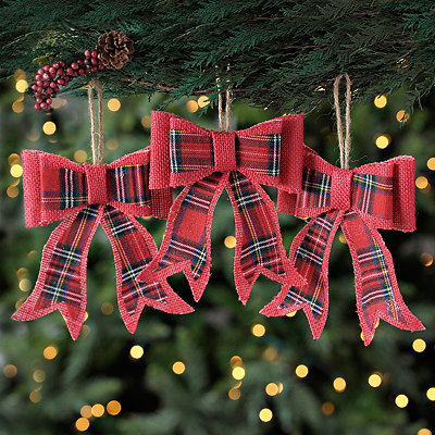 Plaid Red Burlap Bows, Set of 3