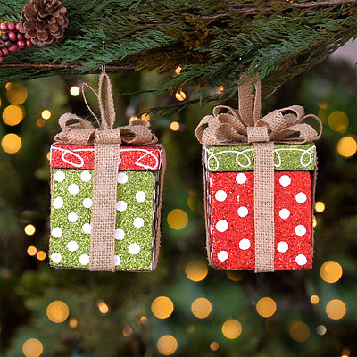 Polka Dot Christmas Present Ornaments, Set of 2
