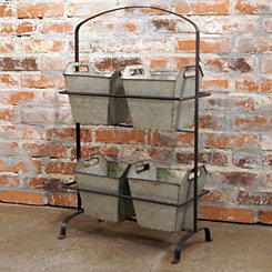 Standing Metal Planter with Bins