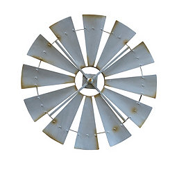Metal Country Windmill Outdoor Wall Plaque