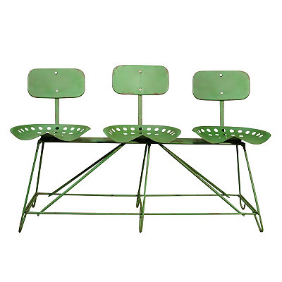 Green Metal Triple Tractor Seat