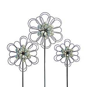 Silver Metal Flower Stakes, Set of 3