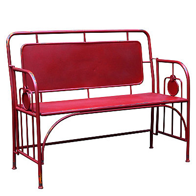 Red Classic Metal Outdoor Bench