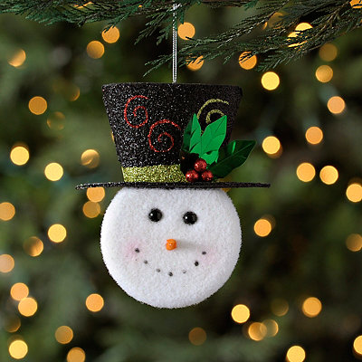 Hatted Snowman Head Ornament