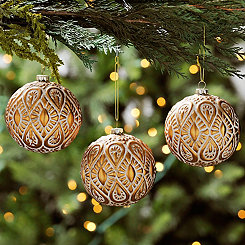 Gold Embossed Christmas Ornaments, Set of 3