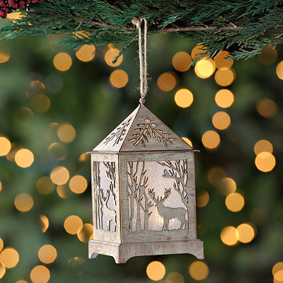 Pre-Lit Natural Deer Lantern Ornament