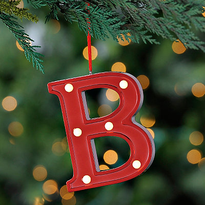 Red Pre-Lit Monogram B Ornament