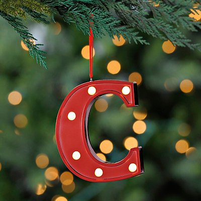 Red Pre-Lit Monogram C Ornament