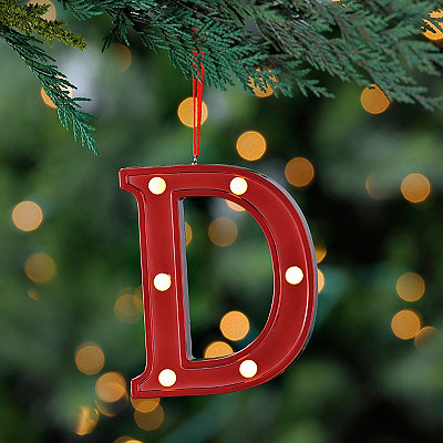 Red Pre-Lit Monogram D Ornament