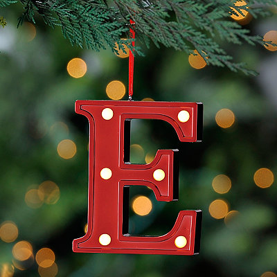 Red Pre-Lit Monogram E Ornament