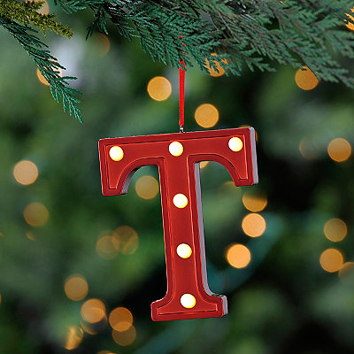 Red Pre-Lit Monogram T Ornament