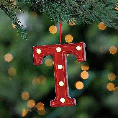 Red Pre-Lit Monogram T Ornament