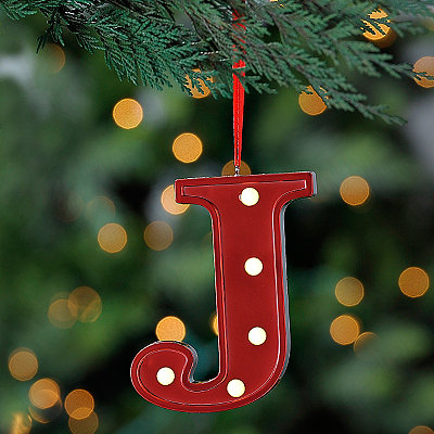Red Pre-Lit Monogram J Ornament