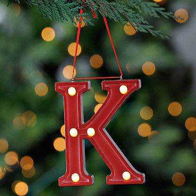 Red Pre-Lit Monogram K Ornament