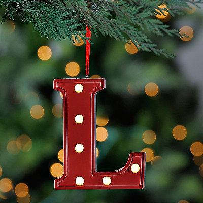 Red Pre-Lit Monogram L Ornament