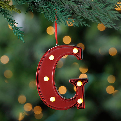 Red Pre-Lit Monogram G Ornament