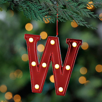 Red Pre-Lit Monogram W Ornament