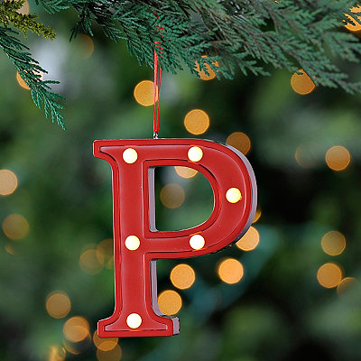 Red Pre-Lit Monogram P Ornament