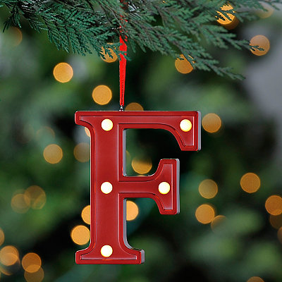 Red Pre-Lit Monogram F Ornament
