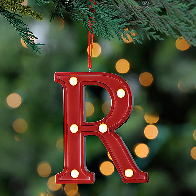Red Pre-Lit Monogram R Ornament