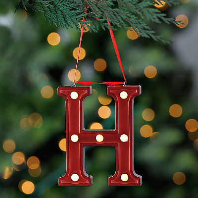 Red Pre-Lit Monogram H Ornament