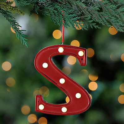 Red Pre-Lit Monogram S Ornament