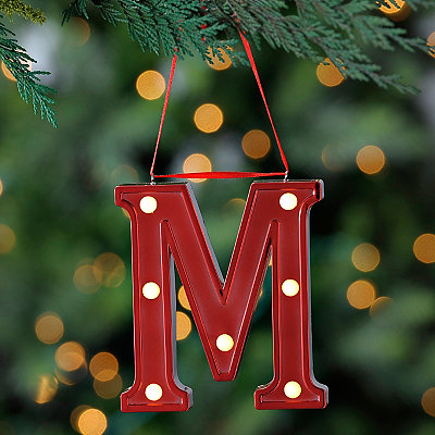 Red Pre-Lit Monogram M Ornament