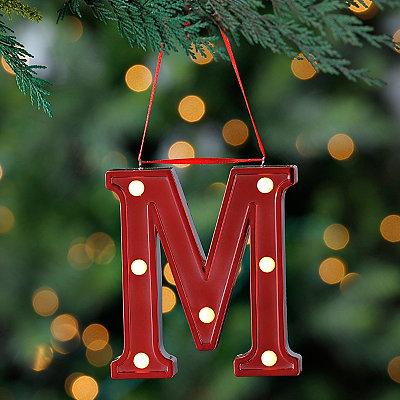 Red Pre-Lit Monogram M Ornament