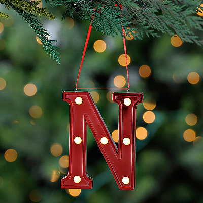 Red Pre-Lit Monogram N Ornament