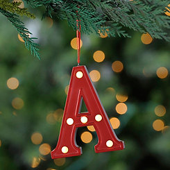 Red Pre-Lit Monogram A Ornament