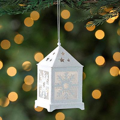 Pre-Lit White Snowflake Lantern Ornament