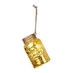 Gold Pre-Lit LED Mason Jar Ornament