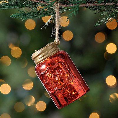 Red Pre-lit LED Mason Jar Ornament