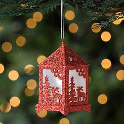 Pre-Lit Red Reindeer Lantern Ornament