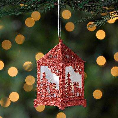 Pre-Lit Red Reindeer Lantern Ornament