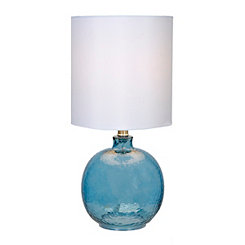 Hammered Blue Glass Table Lamp
