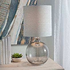 Hammered Smoked Glass Table Lamp