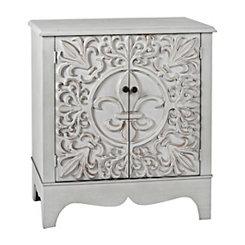 Distressed Blue-Gray Fleur-de-Lis Cabinet