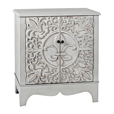 Distressed Blue-Gray Fleur-de-Lis Cabinet